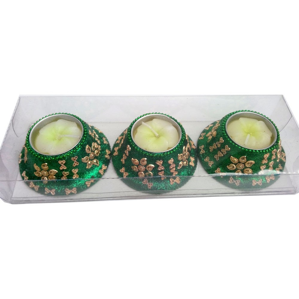 Awesome lakh work wax candle set