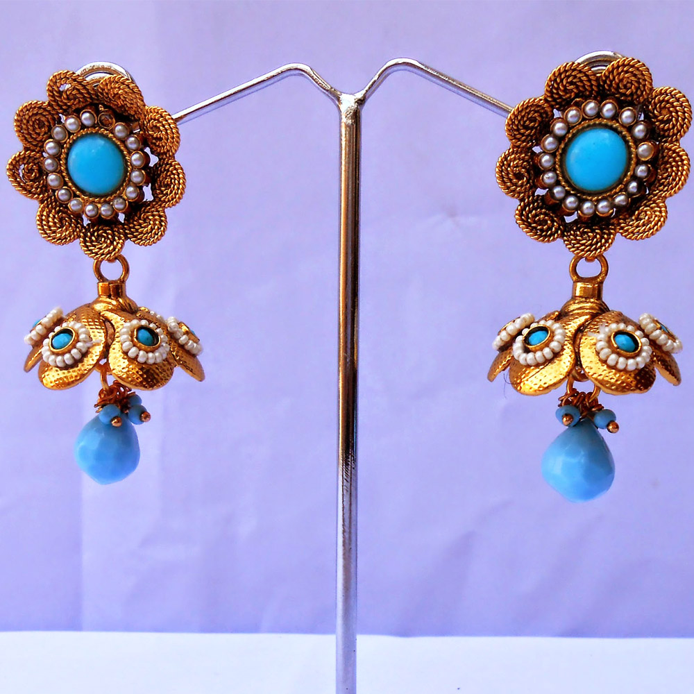 Beautifully crafted turquoise jhumka earrings