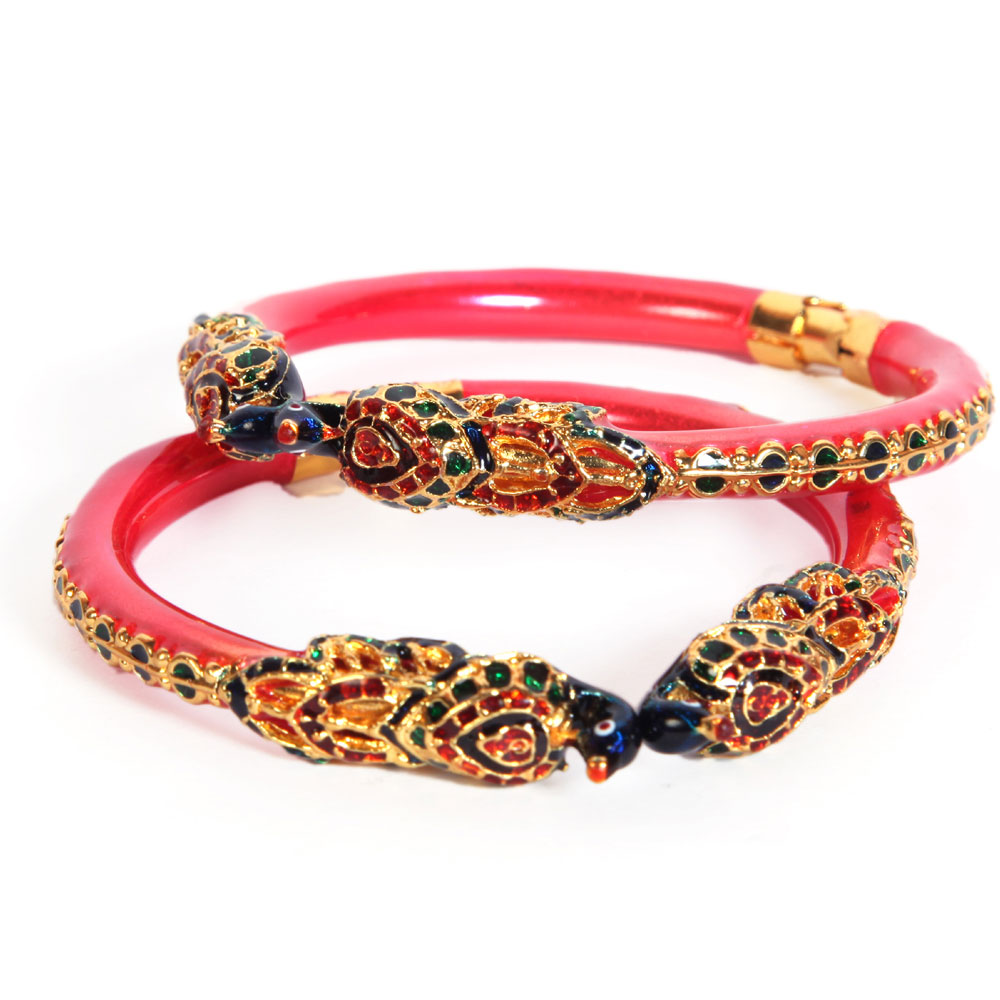 Colourful stones adorned bangles