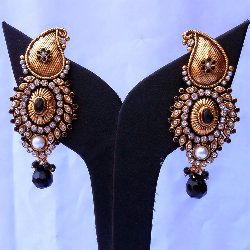 Designer earrings studded with pearls & black gems