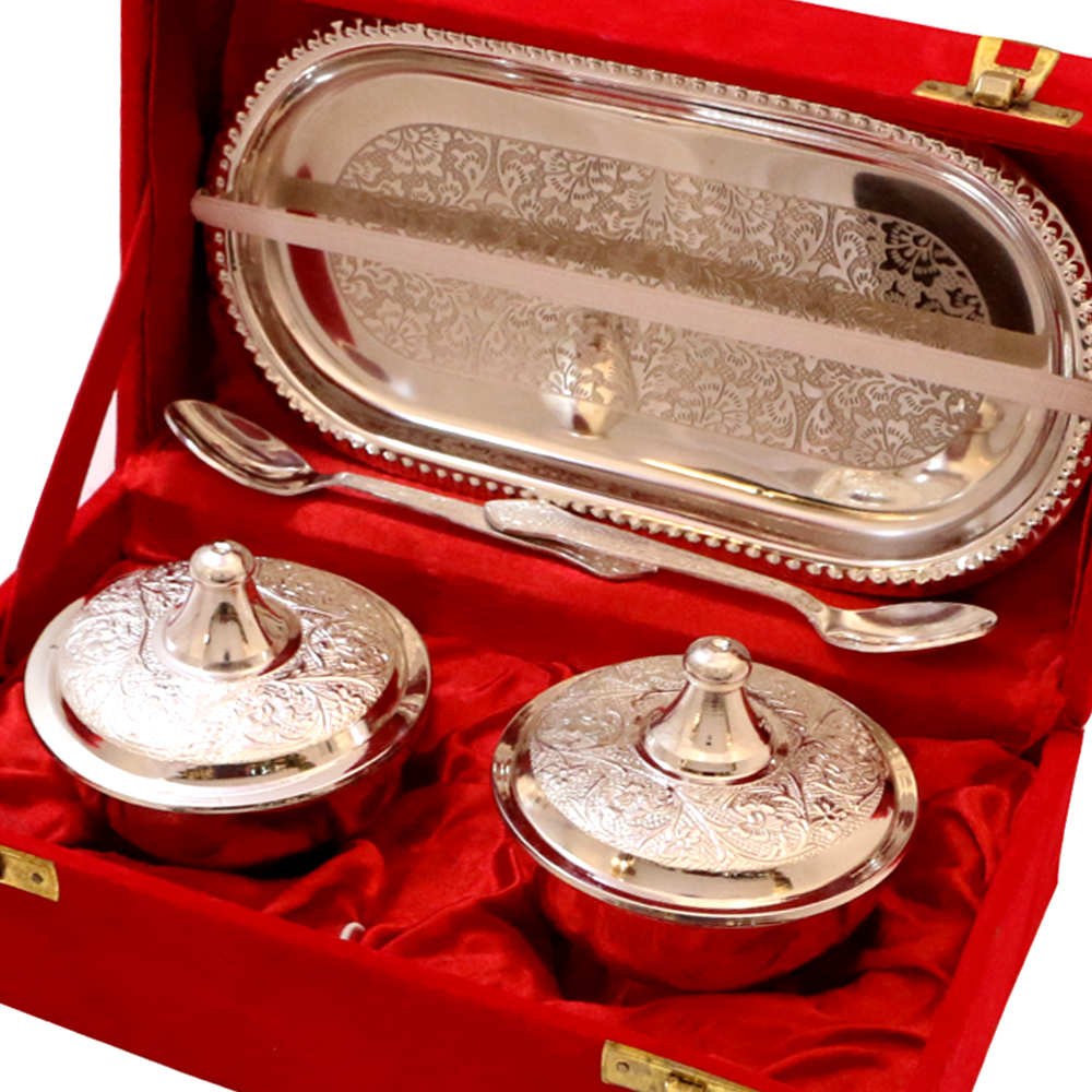 Silver Gifts For Indian Wedding: Buy German Silver Handcrafted Bowl Set Online