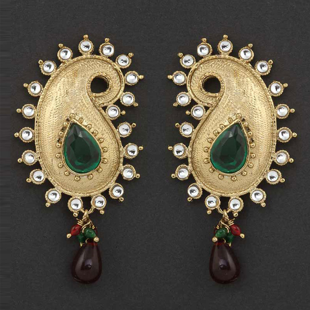 Gold plated green earrings