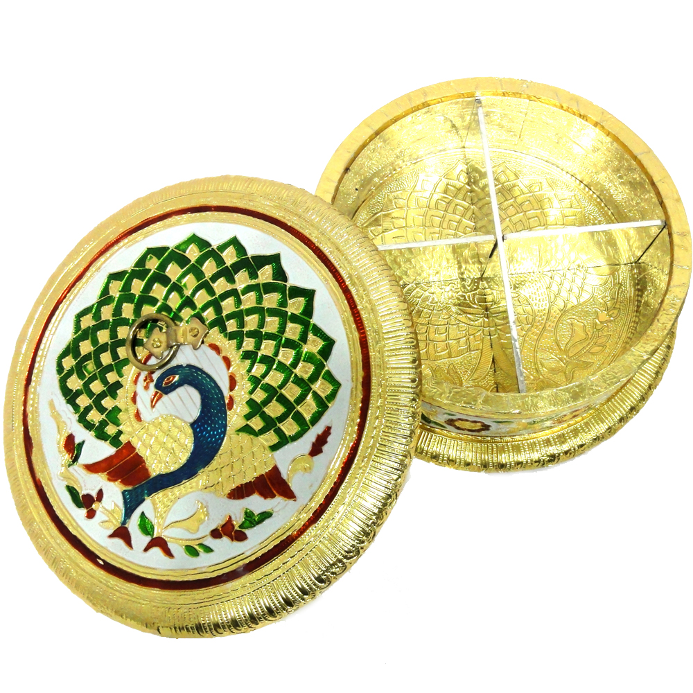 Golden, round shaped gift box with wooden base, brass cover and meena work