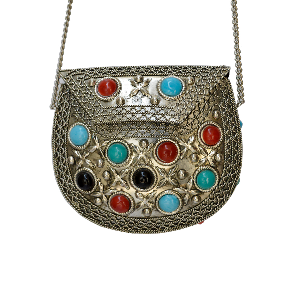 Handcrafted Oxidised Stone Embedded Hand Purse Online