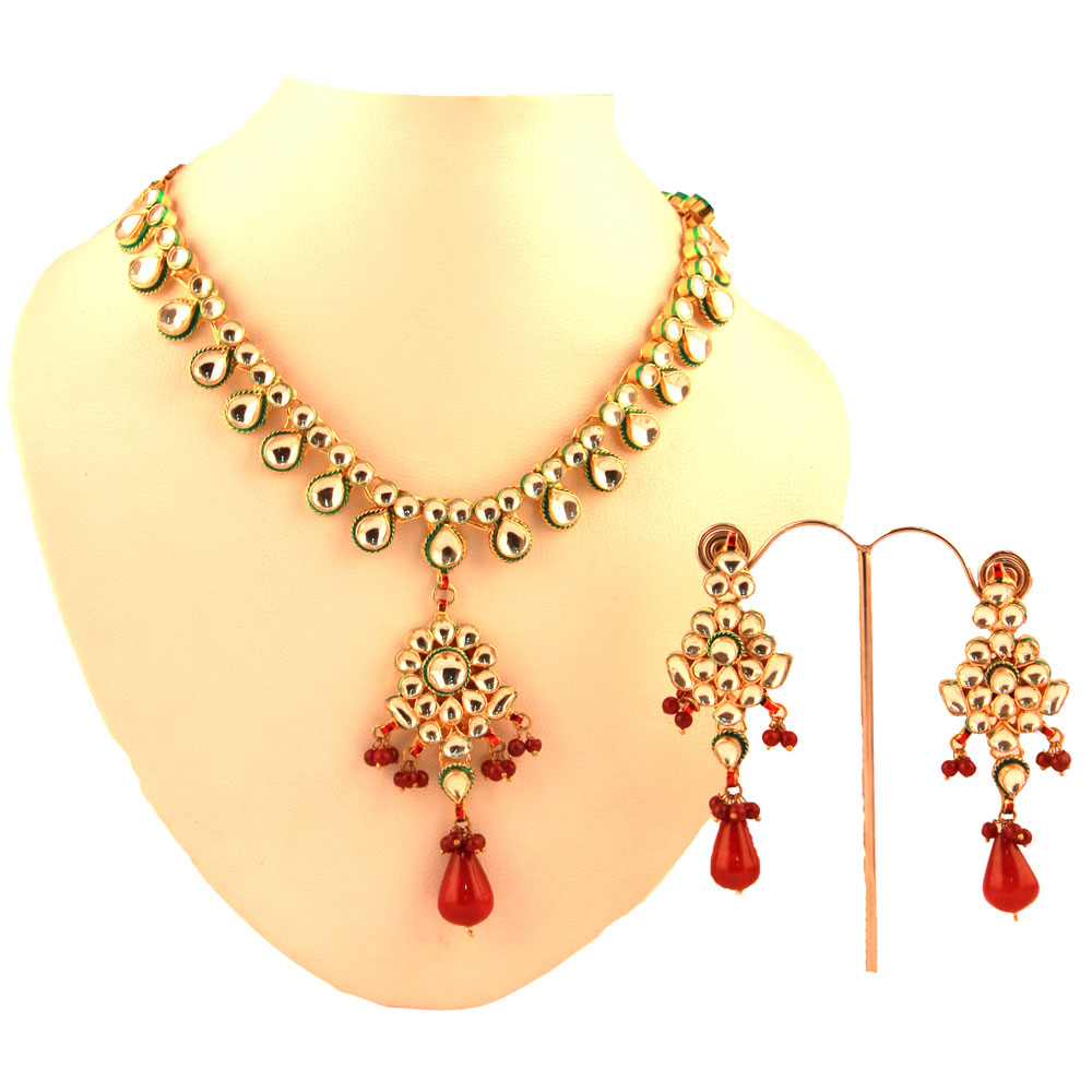 Kundan necklace with red stones
