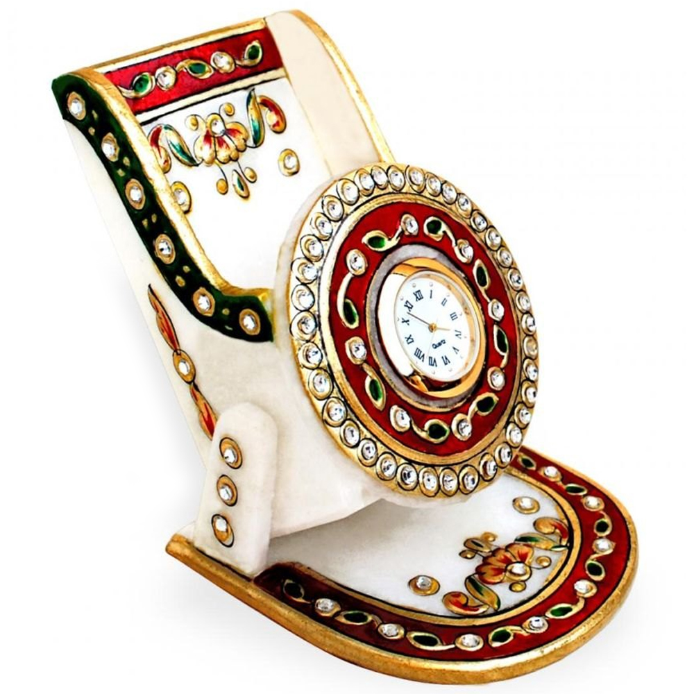 Marble with Meenakari Mobile Stand with Clock