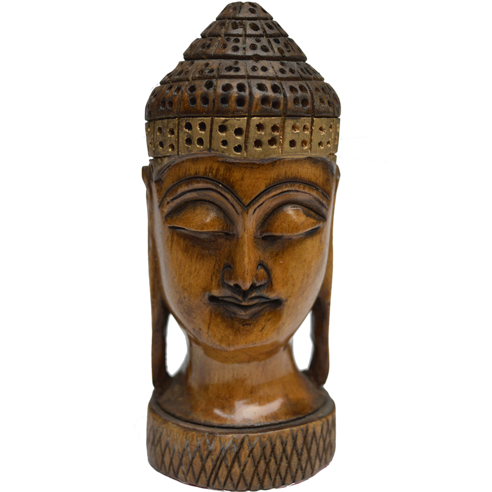 Meditative Mahatma Buddha Head Figure in Wood