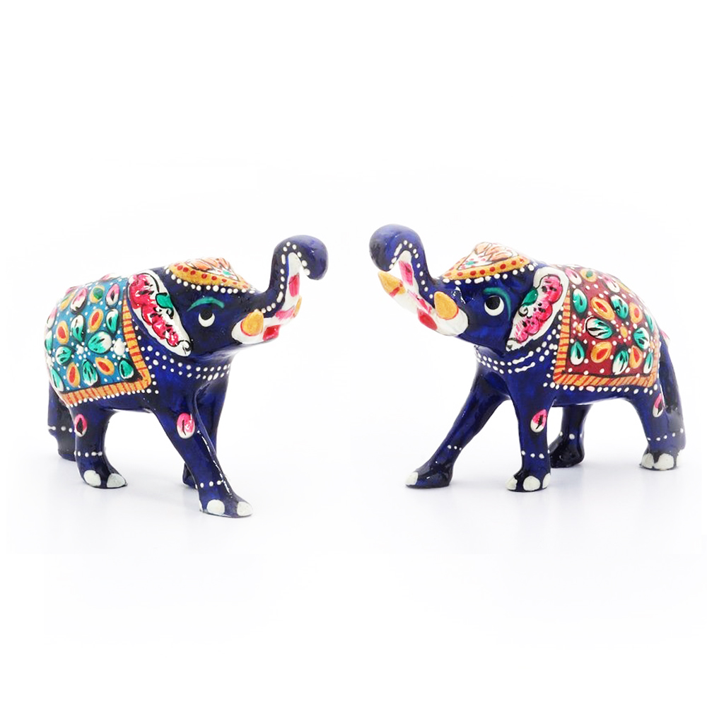 Pair of metal elephant with meenakari work