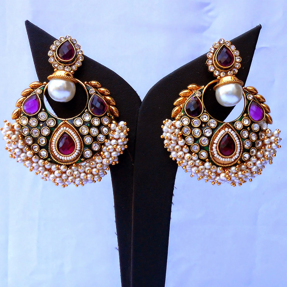 Pearl studded purple ram leela earrings