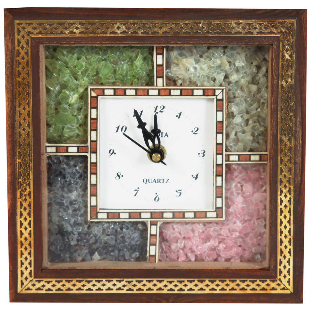 Square Shaped Gemstone Wooden Clock