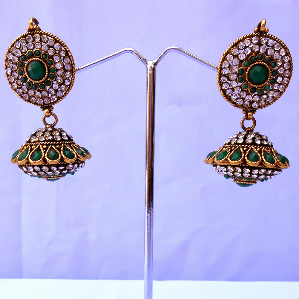 Stylish pair of green jhumka earrings