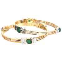 3 lined designer studded bangles