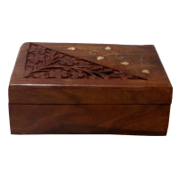 Alluring Barnish Coloured Wooden Box With Carving