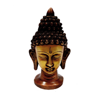 Beautiful brass metal mahatma buddha head statue