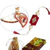 Bhaiya Rakhi With Marble Ganesh Chopra & Sweets