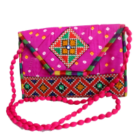 Bhandej Fabric Tiny Hanging Purse With Beaded Handle