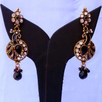 Black stone embedded peacock earrings