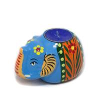 Blue Terracotta Ganesha Candle Stand