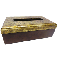 Brass designed wooden napkin box