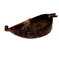 Brass metal decorative ashtray shaped as rajasthani shoes