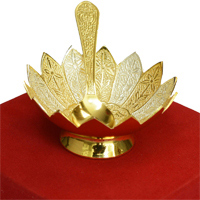 Buy this Gold & Silver Lotus Shaped Bowl with Matching Spoon Set at Boontoon.com
