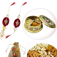 Classic Rakhi With Lumba With Dry Fruits In A Handicraft Meenakari Box
