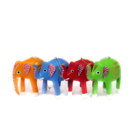 Colourful Elephant Family in Resin