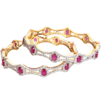 Contemporary double waved bangles