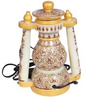 Decorative Marble Lantern with Floral Design Work