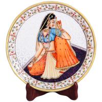 Decorative Marble Plate with Rajasthani Ragini Figure