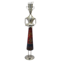 Decorative Metal & Wood Male Musician Statue Playing Instruments with Antique Embossed Work