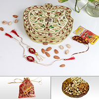 Designer Rakhi & Lumba With Dry Fruits In An Apple Shaped Meenakari Box