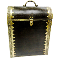 Double bottle holder crafted in wood n brass