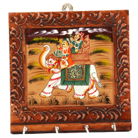 Wood Carved & Hand-Painting Square Shape Key Holder For Wall