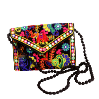 Ethnic Art Designed Purse With Beaded Sling Handle