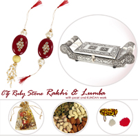 Designer Rakhi & Lumba With Dry Fruits In A Oxidised Partitioned Tray