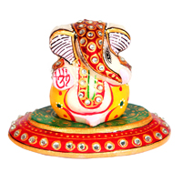 Marble Meenakari Crafted Lord Ganesha In Oval Plate Online