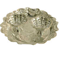 German Silver Round Shaped Plate Chopra For Pooja