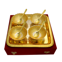 German Silver Two Tone 4 Round Bowls & Tray Set with 4 Spoons