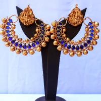 Gold bead studded fashionable earrings