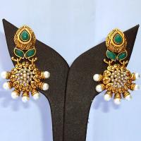 Green gem studded earrings