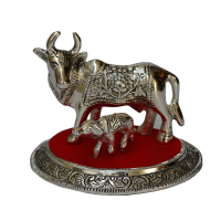 Oxidized White Metal Cow and Calf Figurine