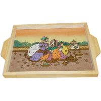 Kadamb Wood Serving Tray with Gemstone Painting