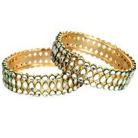 Kundan with green shaded stones bangles