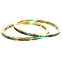 Lush green stone engraved bangles
