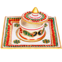 Marble Meenakari Crafted Dibbi With Lid & Plate Online