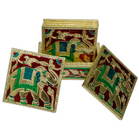Meenakari Tea Coaster Set in Wood & Metal