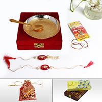 Bhaiya Rakhi, Lumba With Marble Pooja Plate & Sweets