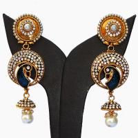 Minakari peacock earrings