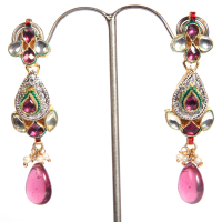 Multi-coloured teadrop hanging earrings